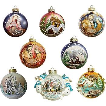 Palla Di Natale Con Foto Digitali.Idea Mobile Palline Natale Dipinte A Mano Confezione 8 Palline Di Natale Come Decorazioni Natalizie Per Albero Di Natale Amazon It Casa E Cucina