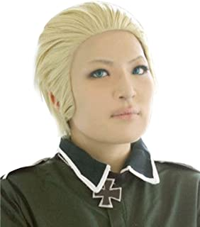 ANOGOL Hair Cap+Short Blonde Men's Cosplay Wig for Costume Party Halloween