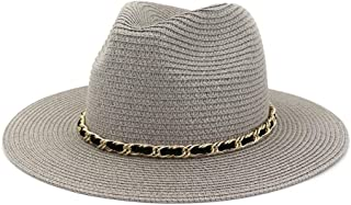 Vintage Panama Women Men Straw Sun Hat Fedora Sun hat Women Summer Beach Sun Visor Cap Cool Jazz Cap` TuanTuan (Color : Gray, Size : 56-58CM)