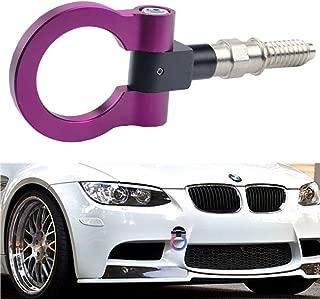 DEWHEL JDM Aluminum Track Racing Front Rear Bumper Car Accessories Auto Trailer Ring Eye Towing Tow Hook Kit Purple for BMW 1 3 5 Series X5 X6 E36 E39 E46 E82 E90 E91 E92 E93 E70 E71 Mini Cooper