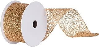 Vickerman Glitter Mesh Ribbon, 4-Inch by 10-Yard, Gold