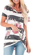 Slyar Camisetas Mujer Manga Corta Originales Cuello Redondo Casual Anudado De La Camiseta De La Moda De Las Mujeres Top Anudado Camisetas Mujer Manga Corta Esprit De Casual Camisetas Mujer