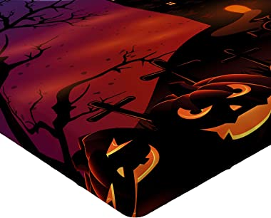 Ambesonne Halloween Fitted Sheet, Gothic Haunted House Castle Hill Valley Night Sky October Festival Theme Print, Soft Decora
