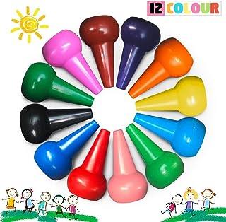 Richgv® Crayones para Niños, Ceras Irrompibles de Colores,12 Colores, no Tóxicos, Lavables, Buen Material de Escritura y Dibujo para Niños, Apilables, Juguetes para Bebés y Niños(Dedo)