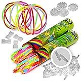 200 Knicklichter KNIXS inkl. 200 x 3D-Verbinder, 4 x Ballverbinder, 4 x 7-Lochverbinder im 6-Farb-Mix, seit 10 Jahren in Profiqualität, deutsche Testnote: 1,4