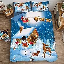 ZS-YD Funda nórdica con diseño de Navidad, funda nórdica con motivos navideños, funda nórdica para niños (S8, 200 x 200 cm + 50 x 75 cm x 2)