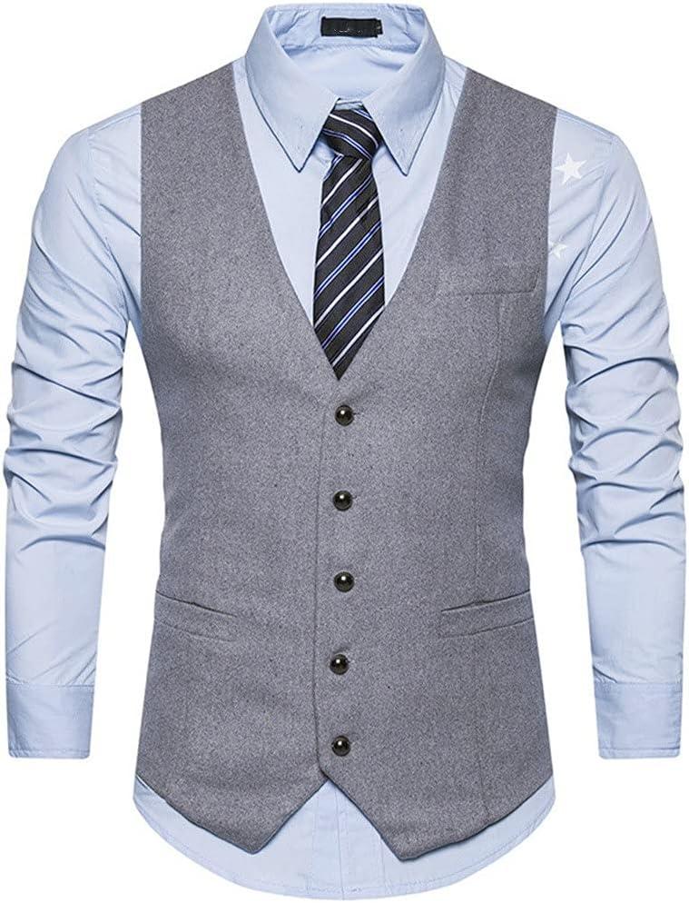 JJSPP Suit Vest Men Single Breasted Wool Vest Waistcoat Mens Slim Wedding Business Tuxedo Vests Gilet Homme (Color : Gray, Size : L Code)