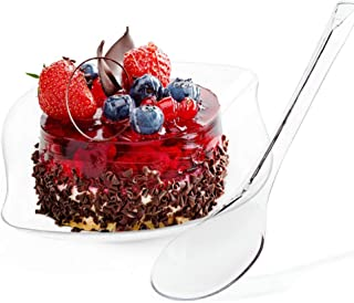 Kingrol 100 Count Dessert Plates with Spoons, Clear Disposable Plates for Cakes, Desserts, Appetizers, Snacks, Tastings