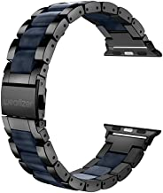 Wearlizer Black Compatible with Apple Watch Band 42mm 44mm Mens Womens Replacement for iWatch Stainless Steel Strap Dark Blue Resin Wristband Fashion Sleek Bracelet Metal Clasp Series 5 4 3 2 1 Sport