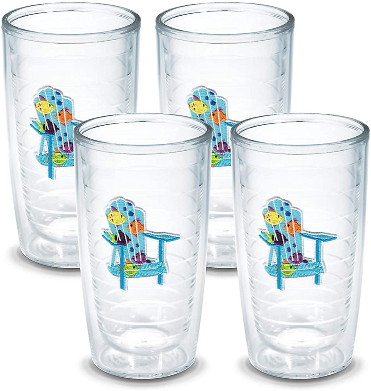 TERVIS Tumbler, 16-Ounce, Tropical Fish Adirondack Chairs , 4-Pack