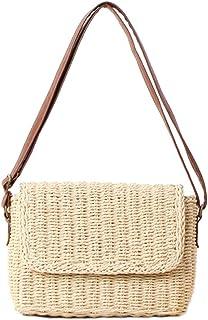 b255bf5b8dabe2 louzheni Strohtasche Stilvoll Lässig Sommer Handarbeit Umhängetasche Damen  Stroh Crossbody Tasche Beach Handtasche Weave Tote