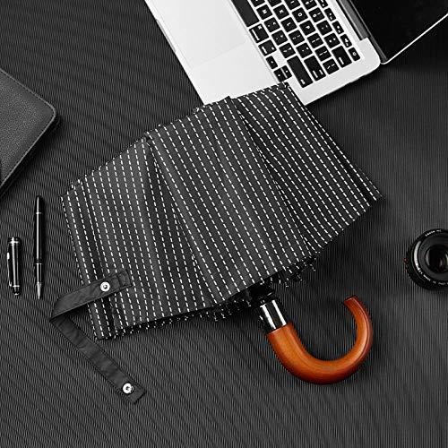 AJIAO Regenschirm Automatischer Taschenschirm mit Holzgriff und Holzgriff für Männer und Frauen im Streifen-Stil Winddichter 10-Rippen-UV-Schutzschirm,schwarz