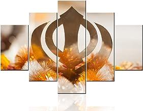 Wall Pictures for Living Room Symbol Emblem of Sikhis Paintings Multi Panels Canvas Wall Art HD Prints Khanda Sikh Artwork...