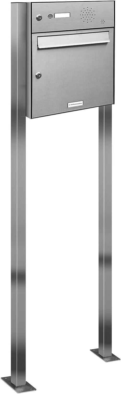 AL Briefkastensysteme 1er V2A Edelstahl Standbriefkasten mit Klingel rostfrei als 1 Fach Briefkastenanlage in Postkasten Briefkasten Design modern - Briefkasten Türsprechanlage