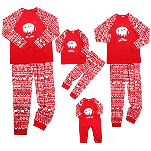 Fossen MuRope Pijamas Navideños Familiars a Juego de Santa, Pijama Mujer Invierno Hombre Entero...