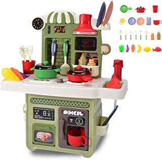 Little Kitchen Playset, Kids Play Kitchen with cooking utensils, pots, fruits and vegetables, Play Sink, and Other Kitchen...