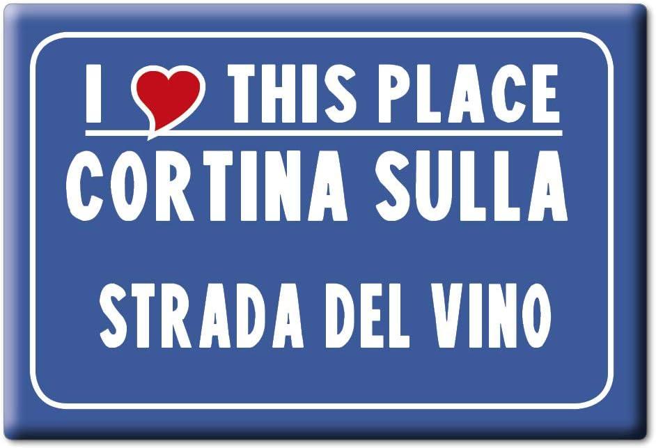 Enjoymagnets Cortina Sulla Strada del Vino Souvenir IMANES DE Nevera Trentino Alto Adige IMAN Fridge Magnet Corazon I Love (VAR. CARTELLO)
