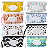 8 Pack Baby Wipes Dispenser,Portable Refillable Wipe Holder,Baby Wipes Container,Reusable Wipes Case,Baby Travel Wet Wipes Pouch