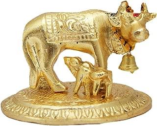 Divya Mantra Hindu Sri Kamdhenu Gayatri Wish Fulfilling Holy Cow with Calf Statue Decor Health Wealth Good Luck Happiness; Interior Living Room/Decoration Showpiece for Home/Office Showpiece Gift