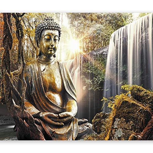 murando Fototapete 250x175 cm Vlies Tapeten Wandtapete XXL Moderne Wanddeko Design Wand Dekoration Wohnzimmer Schlafzimmer Büro Flur Natur Buddha Wald Wasserfall Asia h-C-0032-a-c