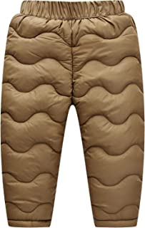 Happy Cherry Baby Boys Girls Windproof Elastic Down Pants Lightweight Warm Thicker Snow Pants