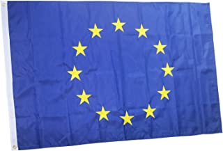 rhungift Premium European Union Flag 3x5Ft Outdoor, Embroidered 12 Stars, Longest Lasting Oxford Nylon-Quadruple Stitched Fly Ends - Brass Grommets for Easy Display Europe EU Flags