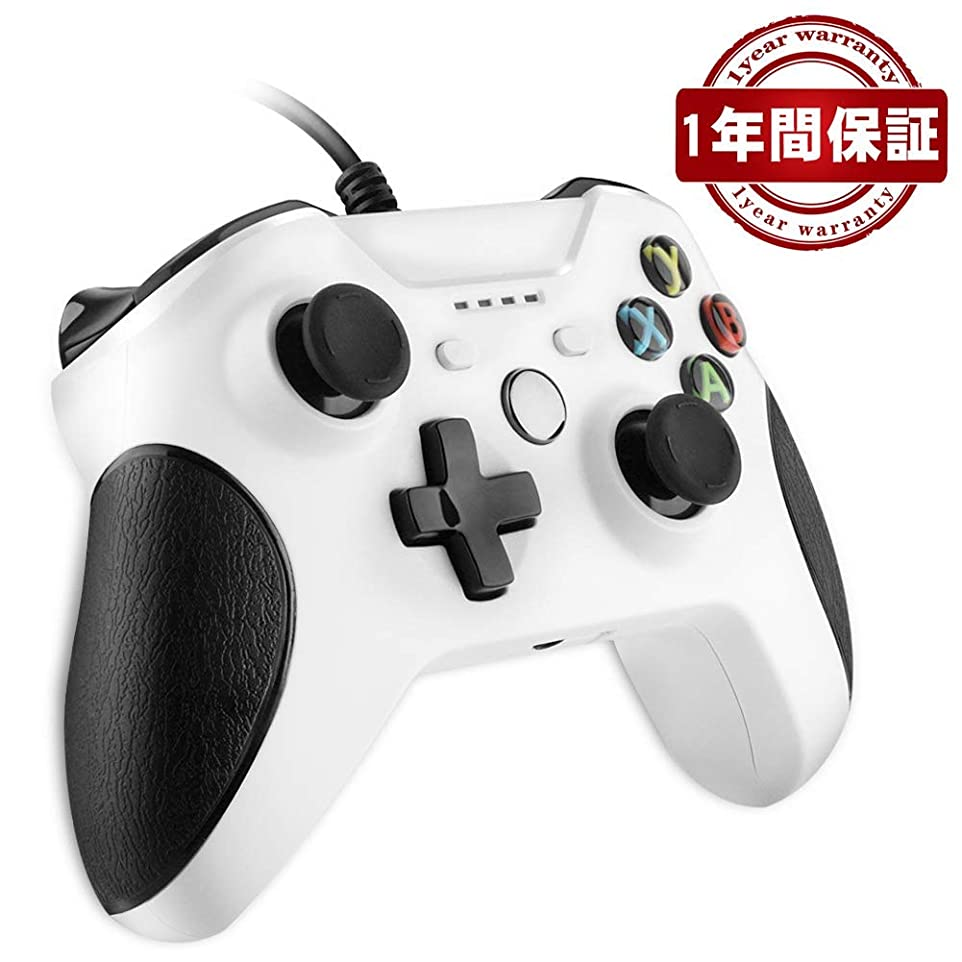 横向き起きて小石【在庫を売り叩く】Xbox ONE コントローラー ゲームパッド有線PC適応 RegeMoudal PC ゲームコントローラ有線 USB Windows PC (XP、WIN7、WIN8、WIN10) 二重振動 人体工学(白)