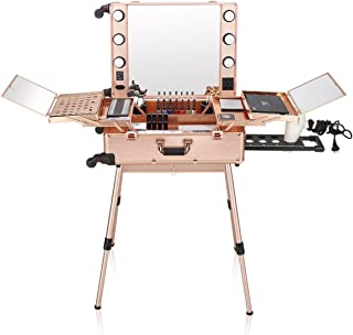 Ovonni LED Makeup Train Case, Lighted Rolling Travel Portable Cosmetic Organizer Box with Mirror & 4 Detachable Wheels, Professional Artist Trolley Studio Free Standing Workstation, Rose Gold