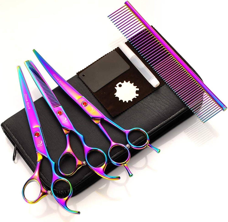 Pet Grooming Scissors Straight Scissors Thinning Scissors Curved Scissors Comb case with Pet Grooming Comb,Sevencolors