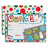 Christmas Cookie Baking and Decorating Party Invitations, 20 5'x7' Fill in Cards with Twenty White...
