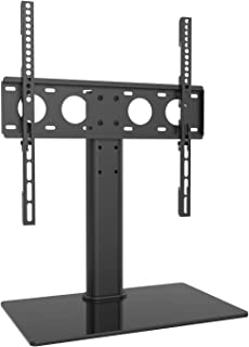 WALI Table Top TV Stand with Glass Base and Security Wire Fits Most 32-60 inch LED, LCD, OLED and Plasma Flat Screen with VESA Pattern up to 400x400 (TVDVD-03), Black