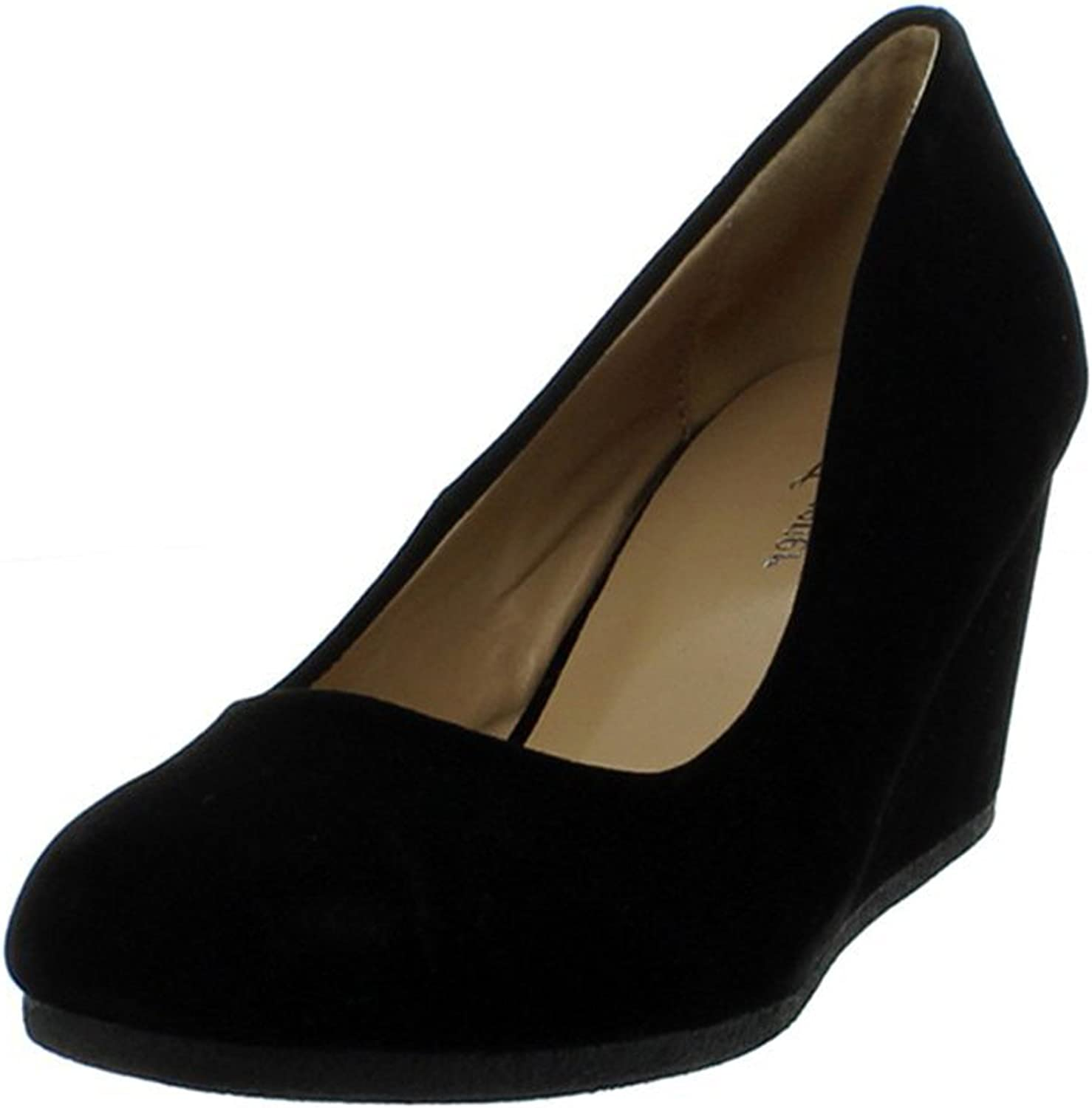 Forever Link Women's Patricia02 Wedge Pumps shoesBlack Suede7.5