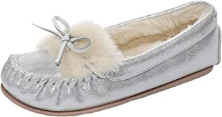Real Fancy Women's Glitter Moccasin Slipper Faux Fur Lined Winter Slip On Loafer House Shoes