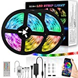 32.8ft LED Strip Lights, TINMIU LED Strip Lights with App Control via Bluetooth, Music Sync, Sensitive Built-in Mic, 44-Key Remote Control, 5050 RGB Multicolor Strip Lights for Bedroom, Kitchen & more