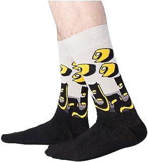 Men's Design, Casual, Funny, Cotton, Black, Gray and Yellow, Weirdo Socks