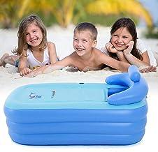 Opblaasbare badkuip, PVC draagbare opvouwbare badkuip, verdikte badkuip, spa-bad, kinderen opblaasbaar zwembad (lichtblauw)