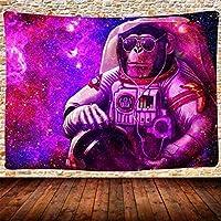 パープルスペースモンキー宇宙飛行士タペストリー壁掛け家の装飾壁掛け子供用大人部屋寝室寮130cm x 150cm