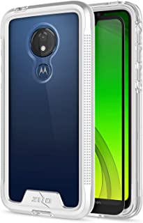 Zizo Ion Series Compatible with Motorola Moto g7 Supra Case Military Grade Drop Tested with Tempered Glass Screen Protector g7 Power Silver Clear