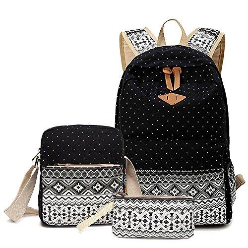 Géométrie Dot Casual toile portable sac bandoulière sac scolaire sac à dos Sacs à dos légers Pencil Case pour jeunes adolescentes