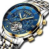 LIGE Relojes Hombre Moda Acero Inoxidable Impermeables Mecánico Automático Reloj Hombre Lujoso Comercio Cronógrafo Calendario Militar Deportivo Luminoso Casual con Números Romanos Dial