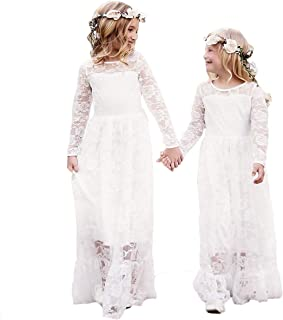 Lace Flower Girl Dress Long Sleeves Wedding Princess Dresses