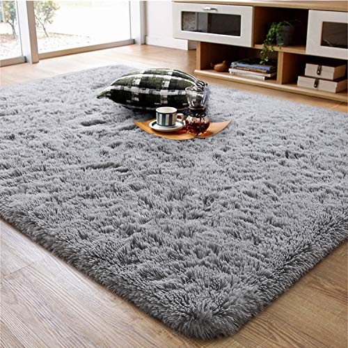 Ompaa Soft Fluffy Area Rug for Living Room Bedroom, 5x8 Grey Plush Shag Rugs, Fuzzy Shaggy Accent Carpets for Kids Girls Rooms, Modern Apartment Nursery Dorm Indoor Furry Decor