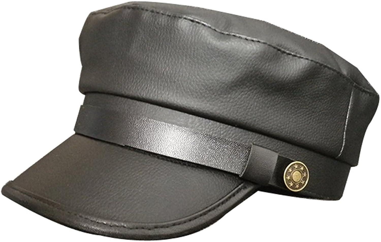 Clecibor Vintage PU Flat Top Army Baseball Cap Unisex Fisherman Sailor Hat Military Navy Hat