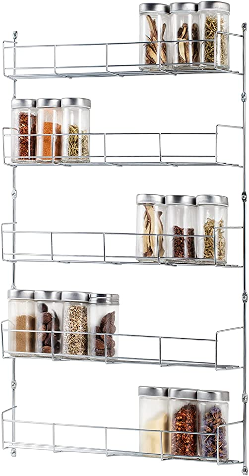 DEFWAY Wall Mounted Spice Racks - 5 Tier Large Wall Spice Rack Organizer for 40 Jars Storage, Metal Chrome Narrow Wall Mountable Spice Racks for Kitchen Wall or Cabinet Door