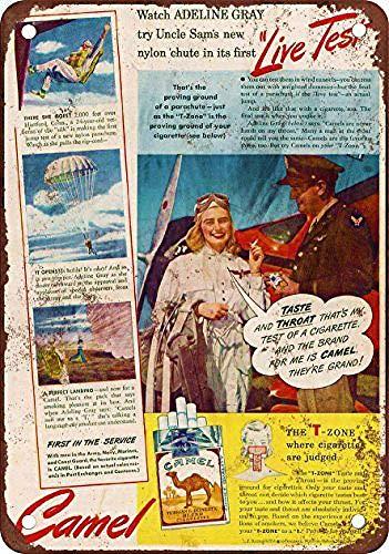 Laurbri Female Test Pilot for Camel Cigarettes Blechschilder Plakette Poster aus Metall Warnschild Eisenblech Malerei Schlafzimmer Schule Wand Aluminium Kunst Dekor Bar Café