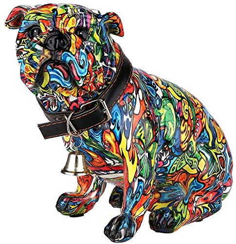 Moderne sculptuur decoratieve figuur pug dog POP ART gemaakt van kunststeen veelkleurig 20x17 cm