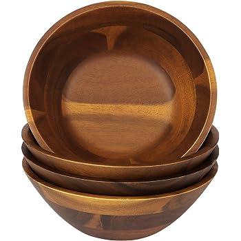 AIDEA Wooden Bowls, Salad Bowl 7 Inch Set of 4