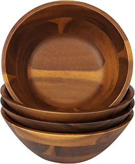 7-Inch Acacia Wooden Salad Bowls, AIDEA 4 Acacia Wood Bowl Set for Cereal Fruit Pasta,Hardwood Serving Bowl