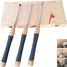 Alqn Juego de herramientas de torneado, herramienta de separación reemplazable con caja de madera, herramienta de torneado de madera de carburo cementado redonda y cuadrada para aficionado a la mader