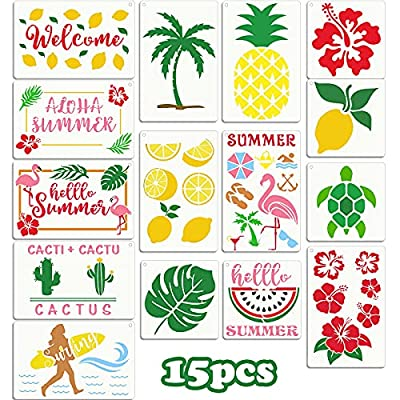 Amazon - 50% Off on 15 Pieces Tropical Stencils Hawaiian Stencils Summer